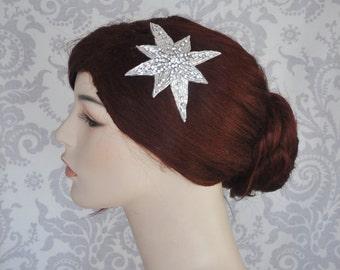 Star Hair Accessory, Crystal Star Hair Comb, Great Gatsby, 1920s, 1930's, Retro hair Accessories, Rhinestone Star Hair Piece - 121HP
