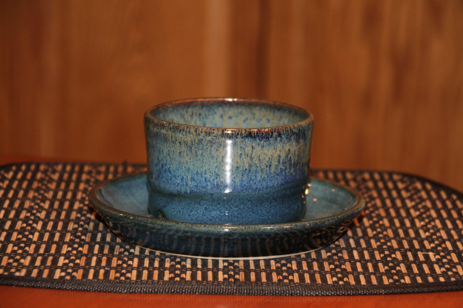 Pottery Indoor or Outdoor Planter in Rich Creamy Blue. Pottery Planter with Attached Base. Violet Flower Pot.