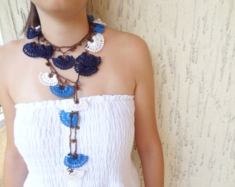 Traditional Crochet Necklace-Turkish Necklace-Denim Blue,Turquoie,White,Brown Crochet Necklace