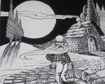 Never Look Into a Bridge Troll's Beard - Vintage 1978 ORIGINAL pen and ink Underground Comic art - Signed GRIFFIN 78 - psychedelic - hippies