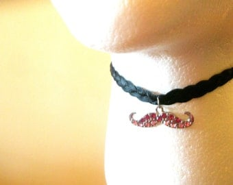 Mustache  choker-Gold Moustache  Miniature jewelry-Pink Geek Chick Mustache