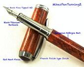 Custom Fountain Pen Custom Wooden Pen Beautiful Amboyna Burl Black Titanium Hardware 596FPB