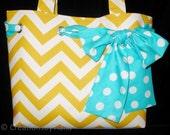 Tote bag - Yellow Chevron - Bag - Purse - Bags with Bows - Turquoise Bow - Handmade handbag