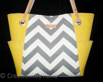 Gray and Yellow Chevron Bag Purse, Handmade handbag, Shoulder Bag with leather handles