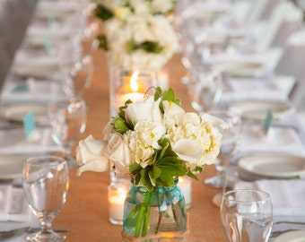 "Burlap Table Runner - 12"" wide by 7 feet long Premium Natural Burlap - Holiday - Wedding or Party -  burlap runners"
