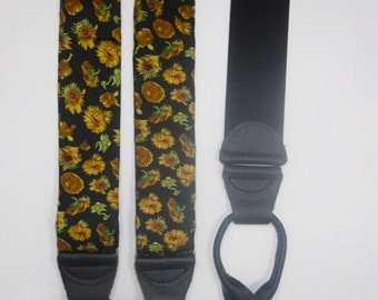 Mens SUSPENDERS, BRACES, Galluses Sunflowers on Black Silk With Button In Leather Tabs