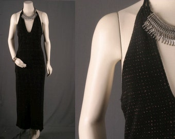 Black maxi dress V neck disco sparkle bohemian long women size S small