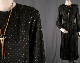 Vintage Blouse skirt set pleated chiffon black gold cocktail women 1970s size blouse 10 skirt 16 Medium M