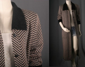 Maxi Jacket chevron kimono duster coat winter blazer black beige white womens size  S small