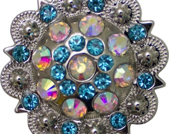 "Round Berry Crystal Concho 1 1/2"" Crystal AB & Turquoise #378-111803"