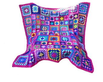 Crochet afghan kaleidoscope granny square, grapefruit red fuschia border, 52 inches, MADE TO ORDER