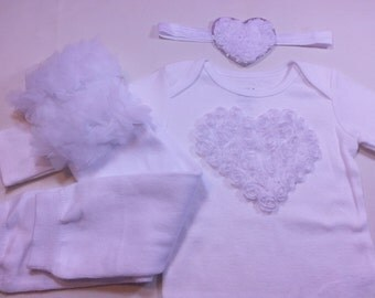 White VALENTINES DAY Outfit,  White Heart Onesie, White Ruffle Leg Warmers, White Heart Headband, Girls Valentines Outfit, Take Home Outfit