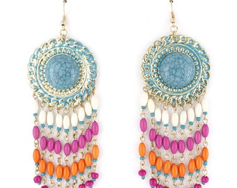 Exquisite Gold-tone Bohemia Style Blue LONG Beads Fringe Drop Earrings