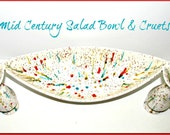 SALE!! Mid Century Vintage Salad Bowl and Cruets, Mad Men Eames Era, Mod, Speckleware, Hand Painted, Oil Vinegar, Tableware, Serving Pieces