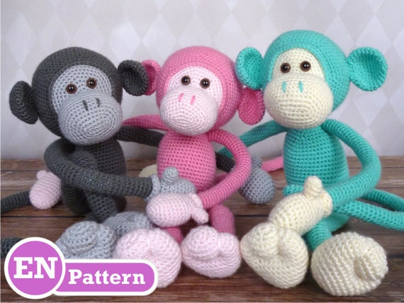 Amigurumi Monkey Etsy : Mike the Monkey Amigurumi Crochet Pattern EN DK & NL by ...