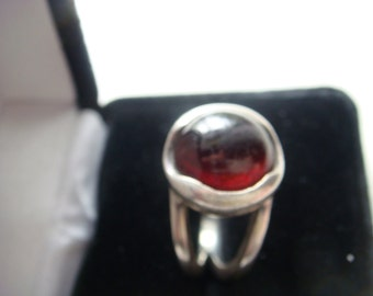 Silver Ring with Deep Cranberry Stone