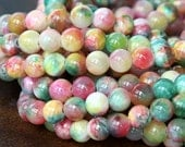 Mountain Jade Beads, Multicolor, 10mm Round - 15 Inch Strand - eMCJ-419-10