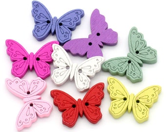 20 wooden sewing buttons, scrapbook, butterfly shaped, mixed color, free combined shipping