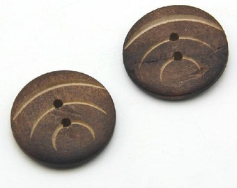 10 pcs 0.98 inch Brown Fish lined pattern Wood Shell Buttons for Decoration