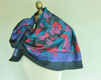 Tropical silk scarf, black, floral, Thai silk