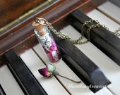 Vintage Music Necklace, Antiqued Brass Necklace, Rose, Rose Pedal, Pink - thesetinytreasures