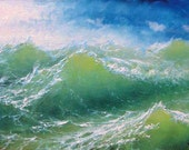 """74 - """"Waves of the Ocean"""",  5""""x 7"""" original canvas giclee print"""