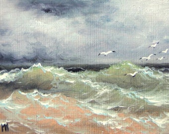 Storm,  ACEO  original oil painting.