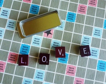 Burgundy/Maroon Scrabble LOVE Magnets in a Metal Tin