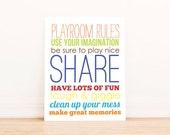 Playroom Rules Art Print - Kids Room Art - Baby Children Nursery Custom Wall Print Poster