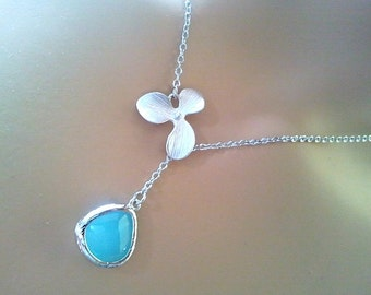 Orchid with Ice blue Necklace - bridesmaid gifts,Wedding jewelry, orchid pendant,  Lariat necklace,Graduation Bridal Christmas GIFT