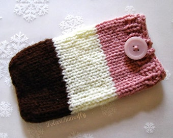 Computer External Storage case, External Hard Drive/ Disk cover, iPhone iPod Touch HTC Droid DNA Samsung Nexus, Knit in Neapolitan Ice Cream