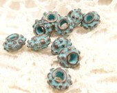 Tiny Bali Style Rondelle Beads, Rustic, Patina Beads, Mykonos Casting Beads (10) - M20