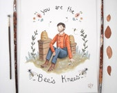 Original Painting: You Are the Bee's Knees - illustration, quirky, hand lettered, typography, rustic skep, woodland, cute, wildlife, animals