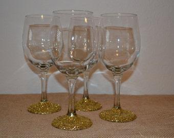 Glitter wine glasses (set of 4)