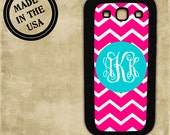 Hot pink chevron with Tiffany blue cover - monogram Samsung Galaxy S3, S4, Samsung Galaxy Note 1, HTC One X, Blackberry 9900 case (9695)