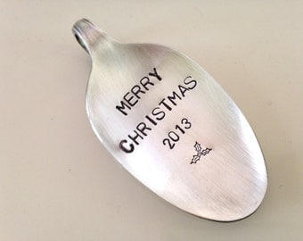 Merry Christmas     Recycled Silverware Spoon Christmas Ornament Hand Stamped