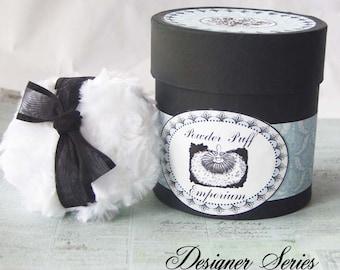 Designer Series Powdering SET (puff, powder box, powder) -  Robin's Egg Blue Damask