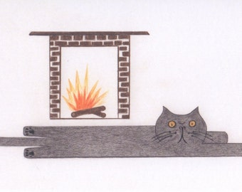 Funny Cat Cards - Cat in front of the Fireplace
