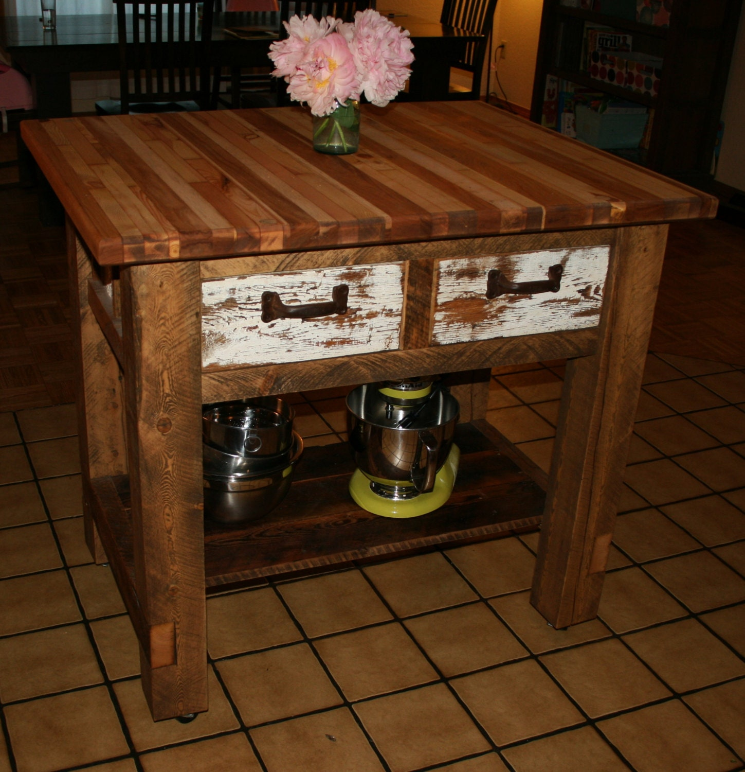32 Simple Rustic Homemade Kitchen Islands: Reclaimed Rustic Kitchen Island By EchoPeakDesign On Etsy