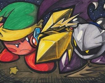 """Kirby vs. Meta Knight - 11x17"""" Print"""