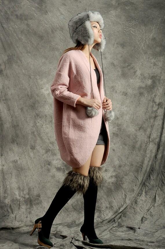 Pink coat wool coat oversized jacket cape bat jacket