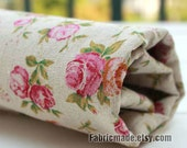Sale- Flower Fabric Clothes- Natural Linen Cotton Fabric with Pink Rose Flower Fabric -1/2 yard