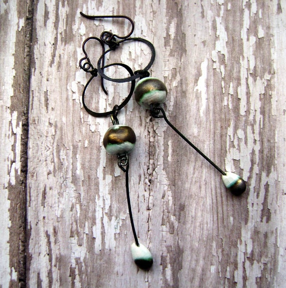 Walk Along The Seashore, dangle, hoop, drop, scorched earth ceramic, aqua bronze, earrings by anvil artifacts