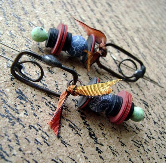 Handmade, soldered metal, lampwork headpins, stone beads, hand dyed silk, Colors of the Street Market assemblage earrings by Anvil Artifacts