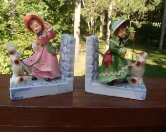 Victorian Lady With Dog Book Ends, Porcelain Book Ends, Japan Book Ends  (T)