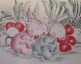 Twin baby bunnies sleeping in the radish patch Greeting card