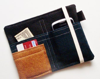 Corduroy wallet , iPhone wallet, iphone 5 wallet, teal, guys wallet, mens wallet, blue wallet, retro wallet, samsung case, TLC Pouches