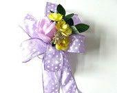 CLEARANCE Lavender & yellow unisex baby gift bow, Baby shower gift bow, Baby gift bow, New baby shower bow, Baby shower decor (BBS16)