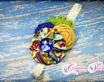 Lime, Royal Blue, Mustard Yellow Flower Headband, Girl's Hair Bow, Hair Accessories, Baby Headband, Fabric Flower Brooch, Infant Hair Bow
