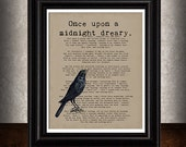 MIDNIGHT DREARY,  Nevermore, Edgar Allan Poe Quote Art, Vintage Raven Image, Library Decor, Halloween Decor, Macabre Art,  Typography, 8x10